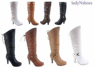 NEW-Dress-Mid-Calf-Knee-High-Platform-Round-Toe-Lace-up-Zipper-Boots-Size