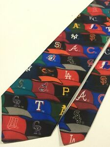 MLB-CAPS-1995-Baseball-Teams-Surrey-Necktie-Polyester-Made-In-The-USA