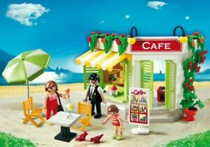 PLAYMOBIL-Cafe-Coffee-Shop-AND-ICE-CREAM-VENDOR-Summer-Holiday-set-RARE-FREE-SH