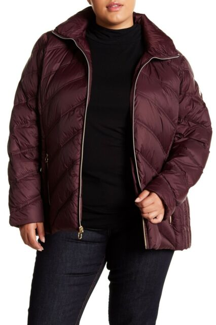 f8e564cd49115 Michael Kors Hooded Packable Quilted Down Puffer Jacket Coat Plus 1X  Eggplant