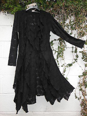 QUIRKY LONG BLACK CARDIGAN LACE FRILLS BNWT LAGENLOOK ETHNIC GOTH STEAMPUNK ARTY