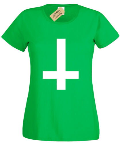 Inverted Cross Womens T-Shirt Black Goth ladies top Rock