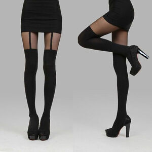 Black Thigh-Highs Fake Suspenders Pantyhose Garter Belt Tights Stockings