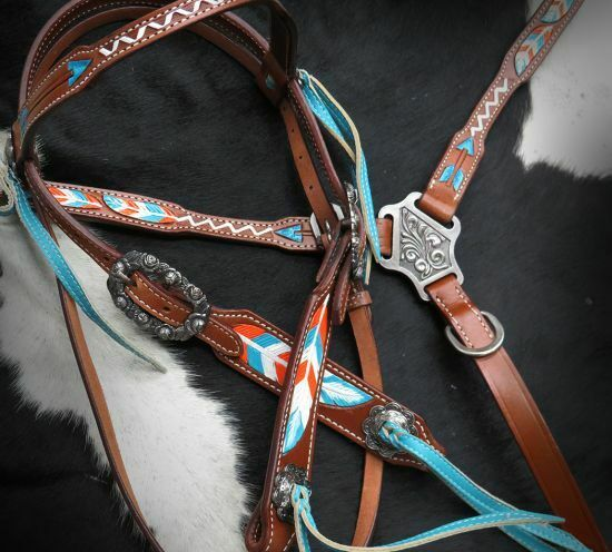 Showman TEAL & orange Arrows & Feathers Leather Bridle Breast Collar Reins Set
