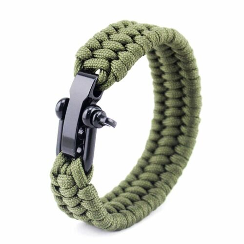 Tactical Paracord Umbrella Rope Bracelet Steel Buckle Survival Bracelet NE