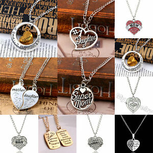 Crystal heart words love mom mother daughter pendant necklace image is loading crystal heart words love mom mother daughter pendant aloadofball Gallery