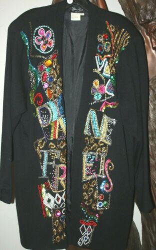 1980s DIANE FREIS Fres BLACK METALLIC BEADED Knit