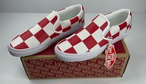 nib vans classic slip on red  white check leather mens