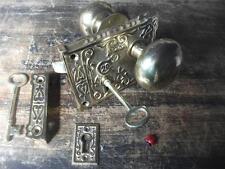 fancy ornate brass rim lock & knob set   victorian style bathroom latch