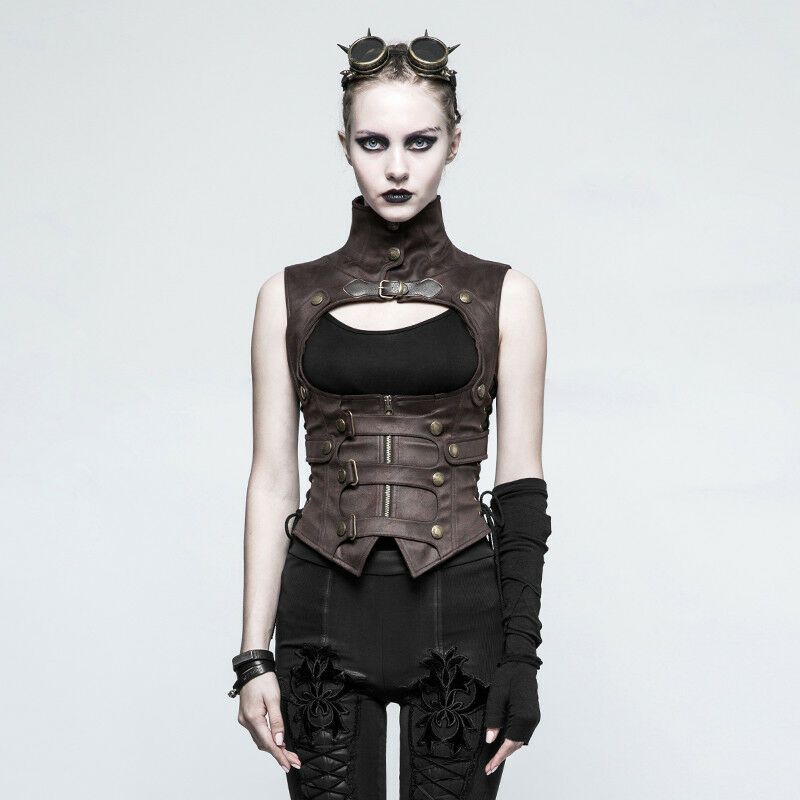 Punk Rave Steampunk damen Waistcoat in braun buckle straps & zip gothic Y-775co
