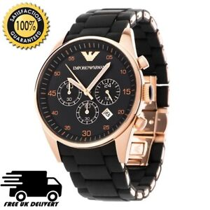 NEW-AR5905-EMPORIO-ARMANI-WATCH-ROSE-GOLD-BLACK-SILICONE-RUBBER-CHRONOGRAPH-MENS