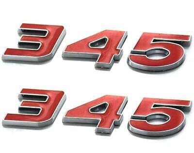 2 x 3D 345 Emblem Badge Decal Sticker for Dodge Challenger Chrysle HEMI 2WU Red