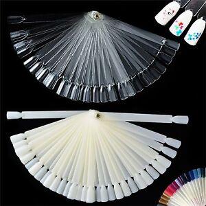 50Polish-Chic-Nail-Art-Tip-Stick-Clear-False-Pop-Colour-Display-Fan-PracticeTool