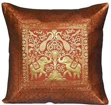 "Brown Cushion Covers Elephant Banarasi 17"" 43cm Scatter Sofa Pillow Indian"
