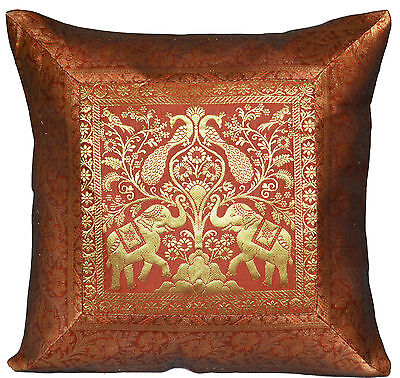 "Brown Cushion Covers Elephant Banarasi 17"" 43cm Scatter Sofa Pillow Clearance"