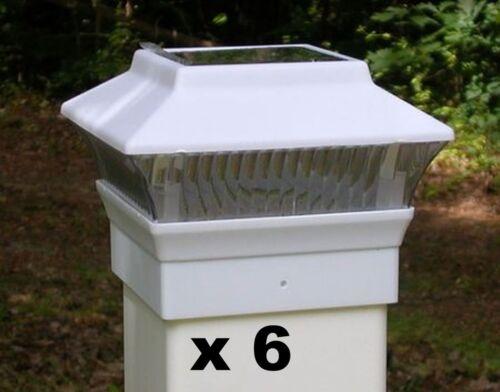 PL244W 6 Solar Fence Post Cap Lights White Fit 4X4 PVC // VINYL Posts