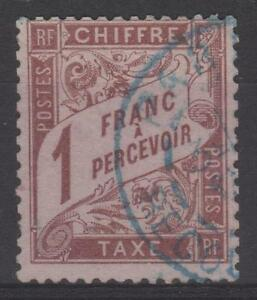 FRANCE-STAMP-TIMBRE-TAXE-N-25-034-TYPE-DUVAL-1F-MARRON-034-OBLITERE-TB-SIGNE-N172