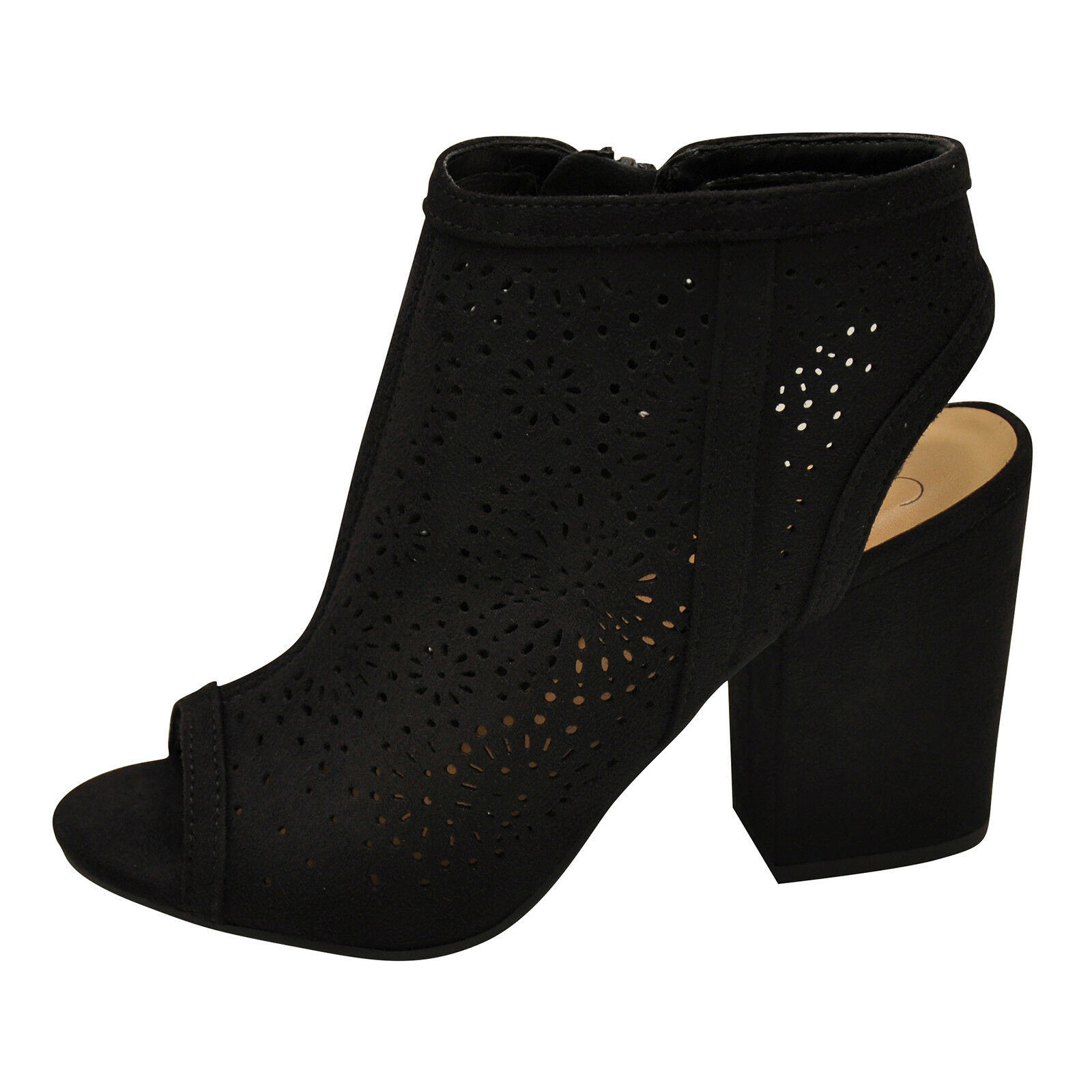 Delicious PARKING-S Black Women's Perforated Chunky Heel Sandal Booties