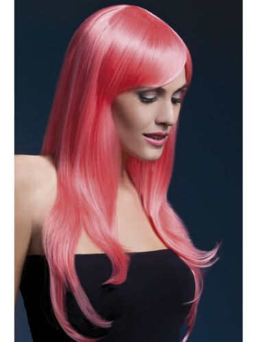 WOMEN/'S LONG FASHIONABLE COLOURED WIGS WITH FRINGE IN A RANGE OF FUNKY COLOURS