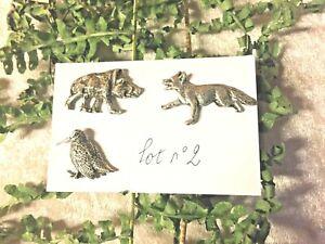 Lot-n-2-3-pin-039-s-chasse-becasse-renard-sanglier
