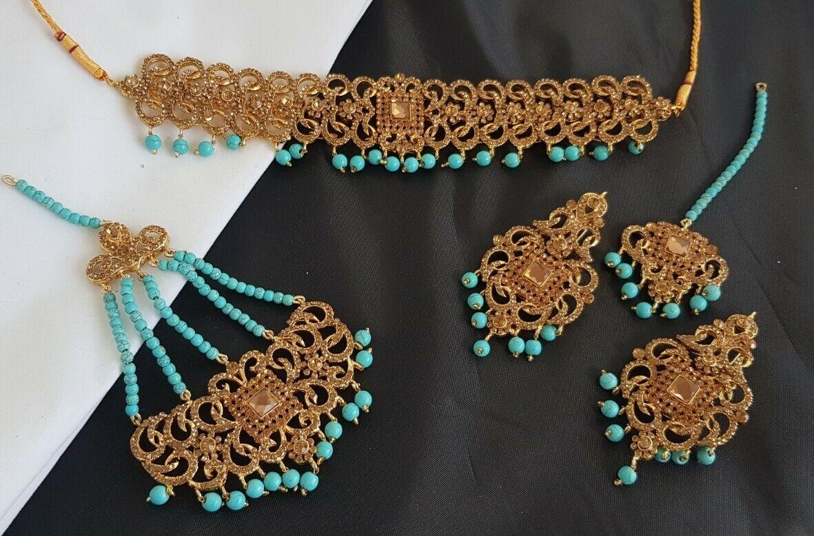 Gold & Turquoise beads Bridal Necklace Earrings Tikka Jhumar jhomer embellished