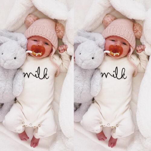 Baby Newborn Boy Girl Milk White Romper Tops Jumpsuit Bodysuit Clothes Outfit UK