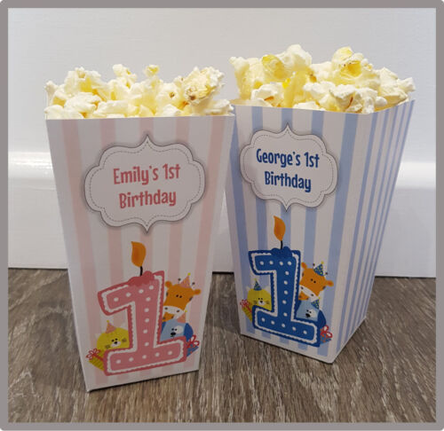 Multipacks Pink or Blue Sweet Boxes Personalised 1st Birthday Small Popcorn