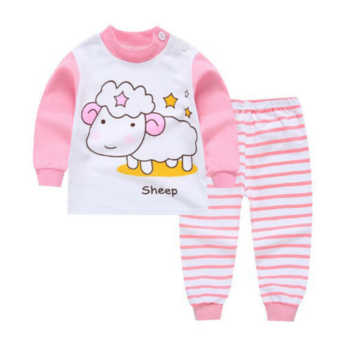 Kids Baby Boys Girls Casual Clothes Top Pants Cotton Pajamas Sleepwear Nightwear