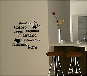 Image Is Loading COFFEE Wall Art Sticker Vinyl Quote KITCHEN CAFE