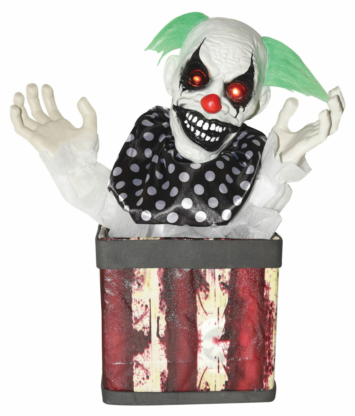 NEW Scary Light Up Sounds Animated Clown in A Box Halloween Prop Decoration