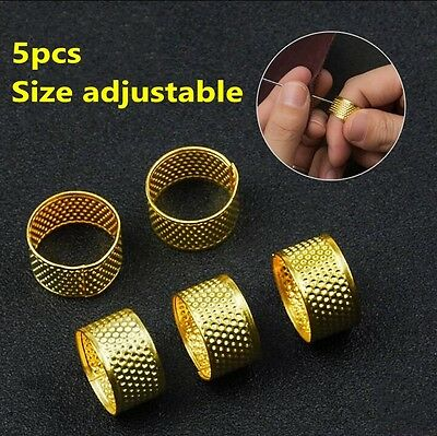 5pcs Leather Craft DIY Gold Sewing Sew Thimble Fige Protective Case Tool