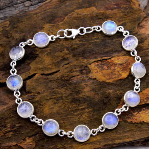 """CYBER DAY SALE 925 Sterling Silver Jewelry Natural Moonstone Bracelet 6.5-7/"""""""