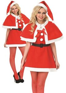 6168bbae4bd2 Ladies Sexy Festive Santa Mrs Xmas Christmas Fancy Dress Costume ...