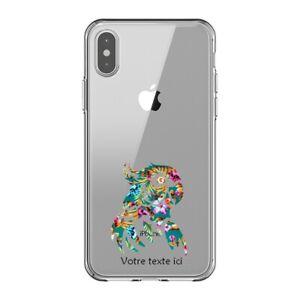 Coque Iphone XS MAX perroquet fleur personnalisee