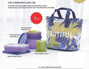 Life-Is-Beautiful-By-Tupperware-Set-Of-4-Bowl-Lunch-Set-Kit-Insulated-Bag