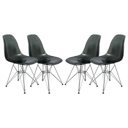 LeisureMod Cresco Modern Eiffel Base Dining Side Chair in Black Set of 4 661646041132