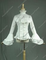 Women White Victorian Lolita Blouse Shirt Jabot Theater Steampunk Costume B018