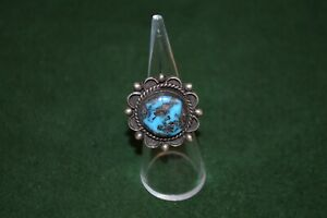 Vintage-Handmade-Sterling-Silver-and-Turquoise-Ring-Size-6-5