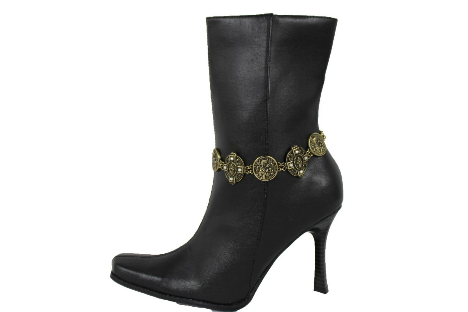 Women Boot Anklet Antique Gold Chain Metal Shoe Bling Cross Jesus Christ Charms
