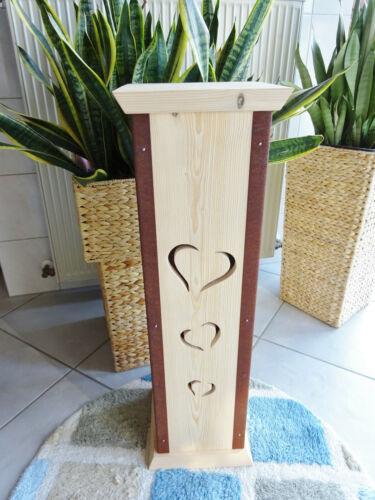 Höhe100 cm Säule,Podest,Holz,Herz,natur Blumenständer Blumensäule handarbeit