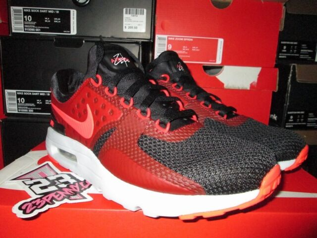 quality design c3331 22eaa SALE NIKE AIR MAX ZERO ESSENTIAL BLACK BRIGHT CRIMSON RED 876070 007 SZ  9-13 NEW