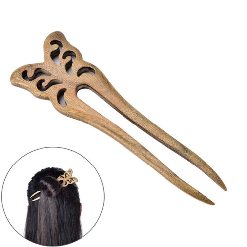 1Pc Butterfly Carved Wooden Sandalwood Hair Pin Stick Retro Women Lady X3 EER