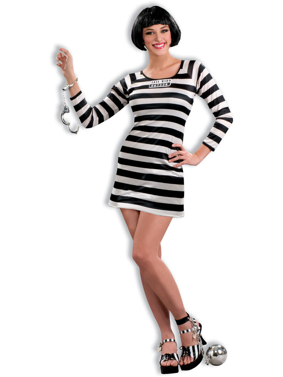 Adult S Womens Jail Bird Prison Break Prisoner Costume Dress For Sale Online