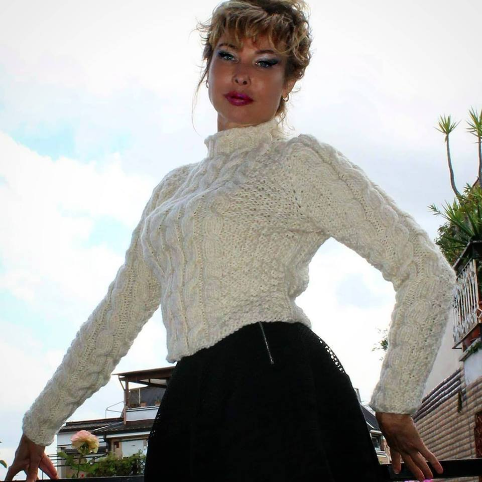 Designer Handmade Knitted Wool Sweater with cables