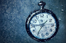 Framed Print - Pocket Watch in Heavy Rain (Picture Poster Art Clock Raining Time