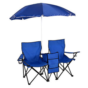 Double Portable Folding Chair Camping Picnic W/Umbrella Table Cooler Beach Chair