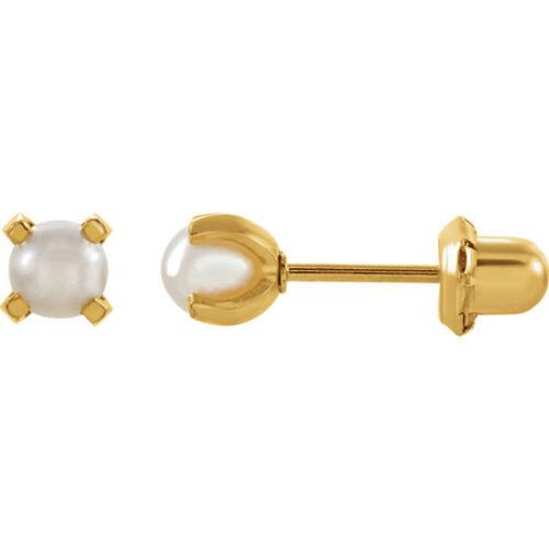 24K Plaqué Or 4 Mm swarovshi fausses perles Inverness Piercing Boucles d/'oreilles