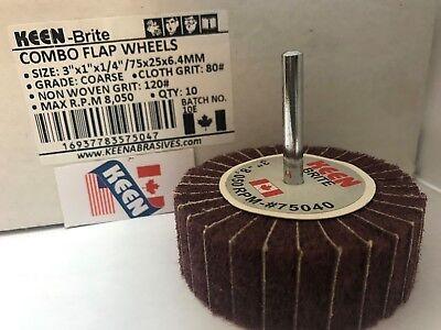 Shank KEEN Brite 55933 10 Pack Medium Interleaved Flap Wheels 1 X 1//2 X 1//4 In