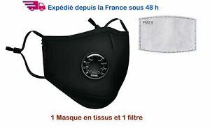 10 Masques de protection Noir tissu coton, réutilisable, valve + 10 filtre