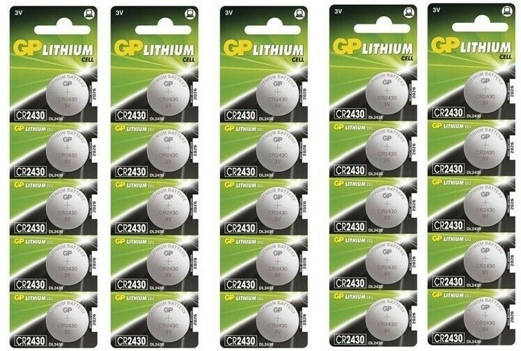 UK BS029-5x GP CR2430 3V lithium button cell battery 5x Blisters